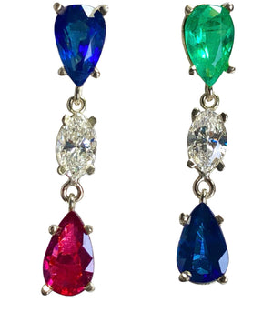 Vivid Natural Sapphire Emerald Ruby and Diamond Drop Earrings 18K