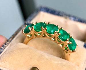 Five Stone Emerald 18K Gold Ring