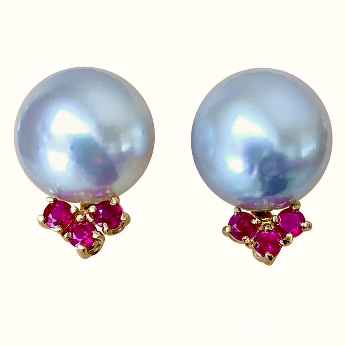 Australian Pearl Earrings with Ruby 14K Yellow Gold