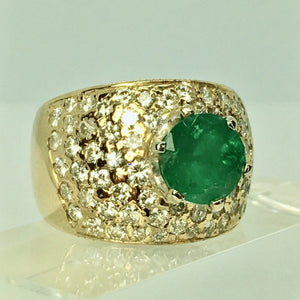 Vintage 4.10 Carat Natural Colombian Emerald Diamond Ring