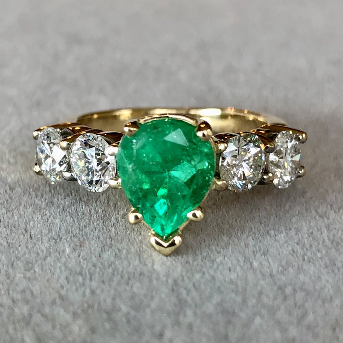 3.66 Carat Colombian Emerald and Diamond Engagement Ring 14K