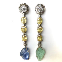 Load image into Gallery viewer, Sapphire Emerald and Diamond Drop 18 Karat Gold Earrings