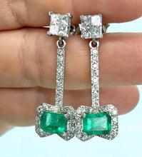 Load image into Gallery viewer, Midcentury Style Emerald and Diamond Drop Earrings 18K
