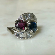 Load image into Gallery viewer, Vintage Ruby Sapphire Diamond Crossover Bypass Platinum Engagement Ring