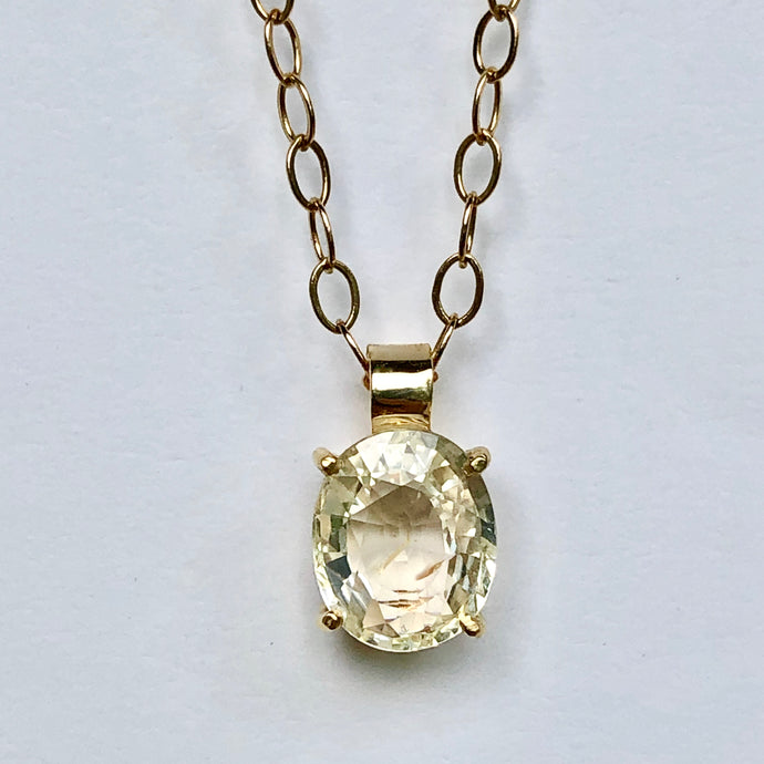 2.00 Carat Yellow Sapphire 18K Gold Solitaire Pendant Necklace