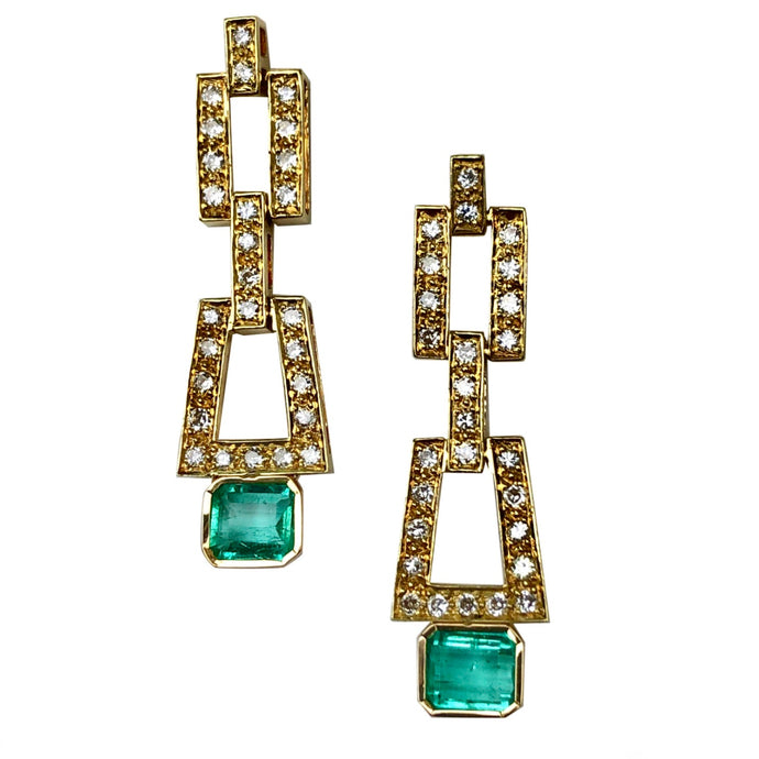 2.80 Carat Deco Style Natural Colombian Emerald Diamond Drop Earrings 18K