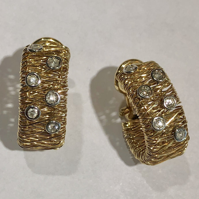 Estate Huggie Clip On Earrings 14K Yellow Gold Diamond