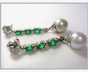 5.00 ct Diamond Emeralds & South Sea Pearl Dangle Drop Earrings 18K White Gold