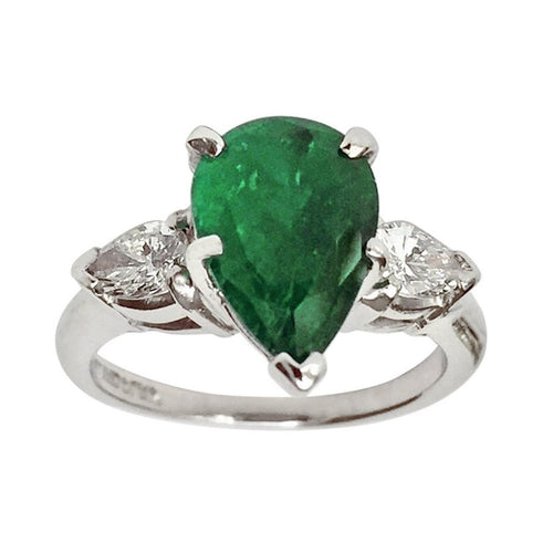 Antique Platinum, Emerald & Diamond Engagement Ring 3 Stone Pear Shape 2.76ct