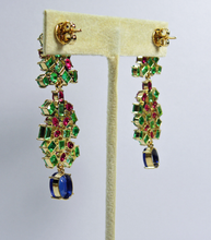 Load image into Gallery viewer, Chandeliers Tutti Frutti Burma Sapphire, Ruby and Colombia Emerald earrings