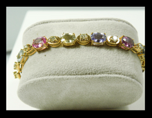 Load image into Gallery viewer, 16.00ct No Heat Multi-Color Sapphire & Diamond Bracelet 18k Yellow Gold