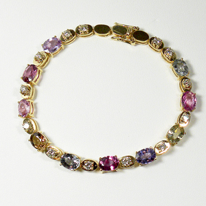 16.00ct No Heat Multi-Color Sapphire & Diamond Bracelet 18k Yellow Gold