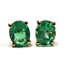 Load image into Gallery viewer, 2.78ct 100% Natural AAA+ Colombian Emerald Oval Stud Earrings 18k Yellow Gold
