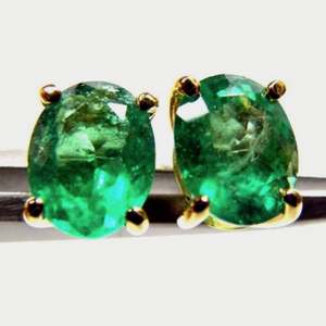 2.78ct 100% Natural AAA+ Colombian Emerald Oval Stud Earrings 18k Yellow Gold