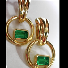 Load image into Gallery viewer, Natural Colombian Emerald Dangle Earrings 18K Gold