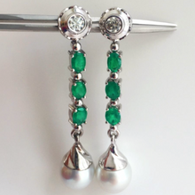 Load image into Gallery viewer, 5.00 ct Diamond Emeralds & South Sea Pearl Dangle Drop Earrings 18K White Gold