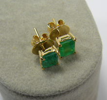 Load image into Gallery viewer, Natural 1.20ct Colombian Emerald Stud Earrings 18k Yellow Gold
