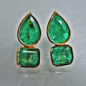 4.60ct Magnificent Natural Emerald Earrings 18k Gold