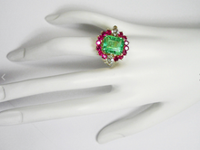 Load image into Gallery viewer, 7.14ct EGL USA Certified Emerald Diamond & Ruby Cluster Cocktail Ring 18k