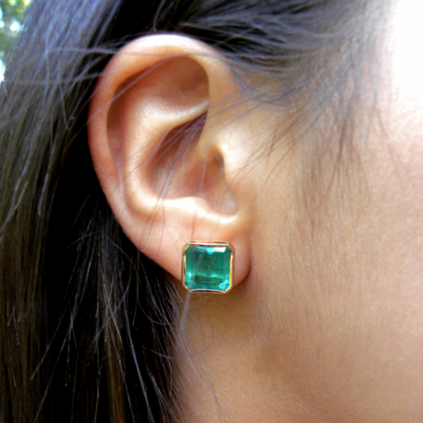 7.24ct Huge Bright Green AAA+ Square Natural Emerald Stud Earrings 18k Gold