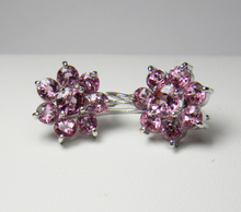 Load image into Gallery viewer, Estate Art Deco style Pink-Rose Spinel Daisy Dangle Earrings
