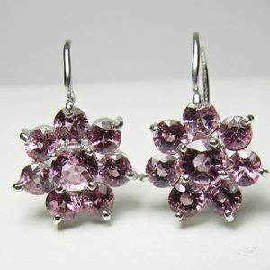 Estate Art Deco style Pink-Rose Spinel Daisy Dangle Earrings