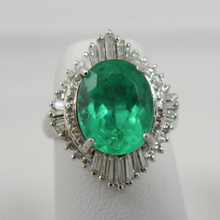Load image into Gallery viewer, Vintage Fine Colombian Emerald & Diamond Engagement Platinum Ring