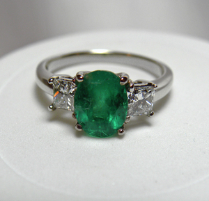 Estate 2.60cts Natural Colombian Emerald Diamond Engagement Ring 14K Gold