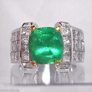 7.56ct Fine Natural Colombian Emerald Diamond Ring Unisex 18K
