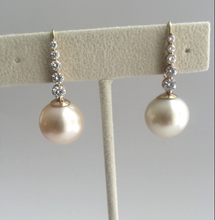 Load image into Gallery viewer, Estate Natural 14.5mm South Sea Pearl Diamond Drop Earrings 14K