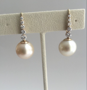 Estate Natural 14.5mm South Sea Pearl Diamond Drop Earrings 14K