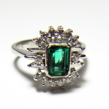 Load image into Gallery viewer, Estate Emerald Diamond Cocktail Ring 14K White Gold