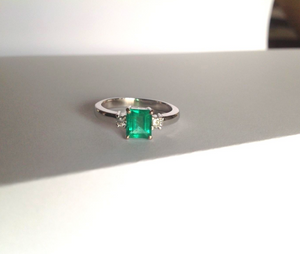 1.00CT AAA++ Fine Natural Colombian Emerald Engagement Diamond Ring 18K White Gold