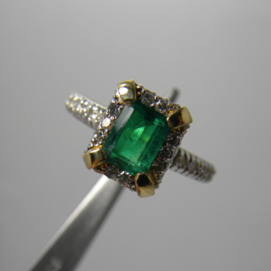 Natural Colombian Emerald Diamond Ring 14k Gold