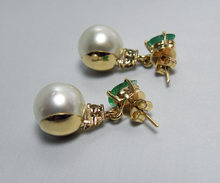 Load image into Gallery viewer, Natural Emerald Diamond & Pearl Dangle Earrings 18k Gold Gorgeous