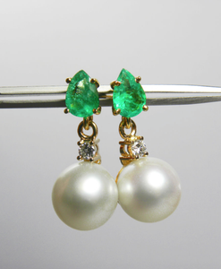Natural Emerald Diamond & Pearl Dangle Earrings 18k Gold Gorgeous