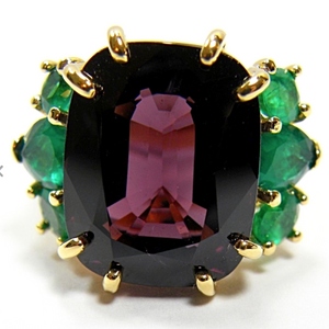 22.03 Carat Certified Untreated Fine Spinel Colombian Emerald Ring 18K