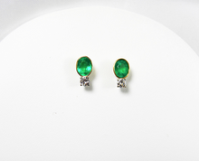 Load image into Gallery viewer, 2.35ct Natural Colombian Emerald & Diamond Stud Earrings 18k Gold