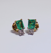 Load image into Gallery viewer, 2.40ct Platinum & 18k Gold Natural Emerald Diamond Stud Earrings