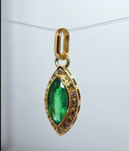 Load image into Gallery viewer, 1.35ct Natural Colombian Emerad & Diamond Pendant 18k Yellow Gold