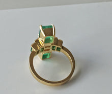 Load image into Gallery viewer, 4.24 Carat Natural Fine Colombian Emerald Diamond Art Deco Style Ring 18K