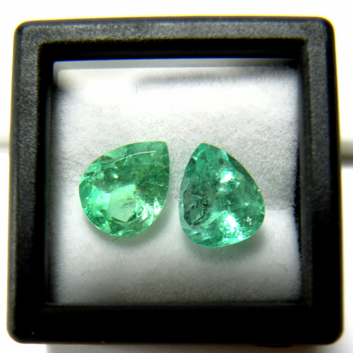 Loose 3.00ct Genuine Matching Pair Natural Colombian Emerald Tear Drop