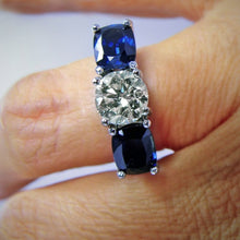 Load image into Gallery viewer, Estate 5.20ct Diamond & Natural Blue Sapphire Engagement Ring 18k White Gold