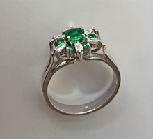 Load image into Gallery viewer, 1.50 ct Round Art Deco Style AAA+ Emerald Diamond Cocktail Ring 18K White Gold