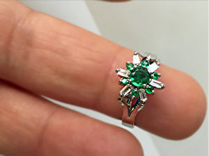 1.50 ct Round Art Deco Style AAA+ Emerald Diamond Cocktail Ring 18K White Gold