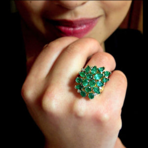 4.75 Carat Natural Colombian Emerald Cluster Cocktail Retro Style Ring 18K
