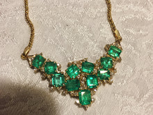 Load image into Gallery viewer, 14.25ct Cluster AAA+ Colombian Natural Emerald Diamond Pendant Necklace 18k Gold