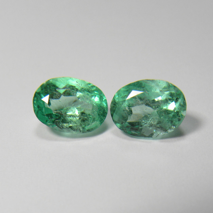 Loose 4.00ct Genuine Matching Pair Oval Natural Colombian Emerald