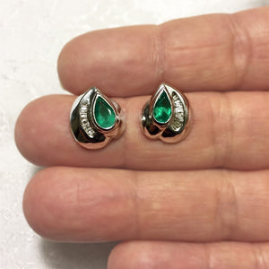 Natural Columbian Emerald & Diamond Stud Earrings 18k White Gold