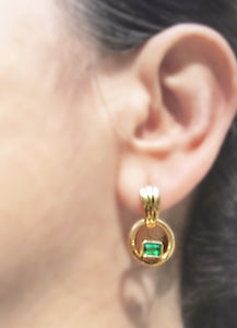 Natural Colombian Emerald Dangle Earrings 18K Gold